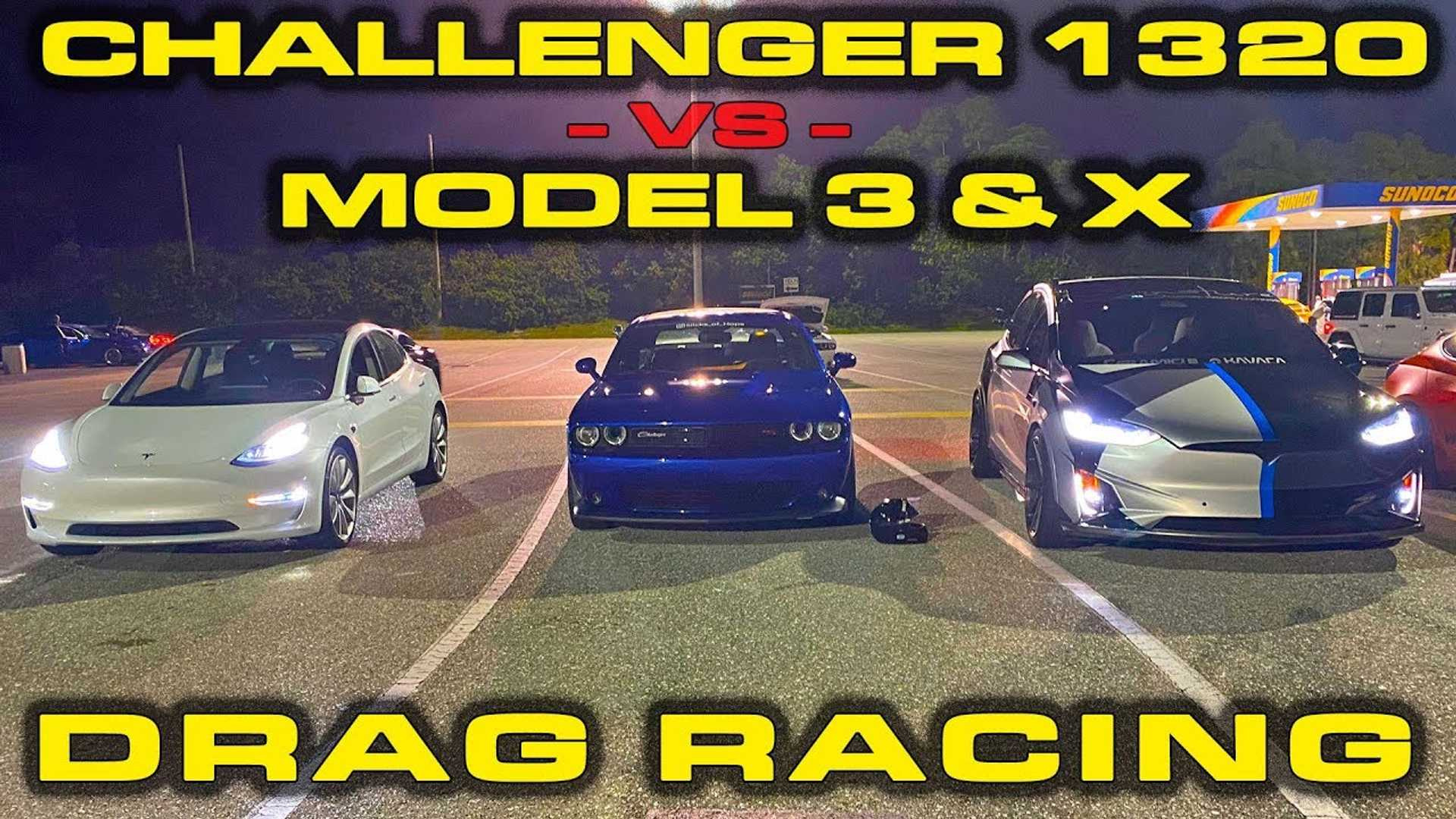 Dodge Challenger R/T Scat Pack 1320 Drag Races Tesla Model 3, X
