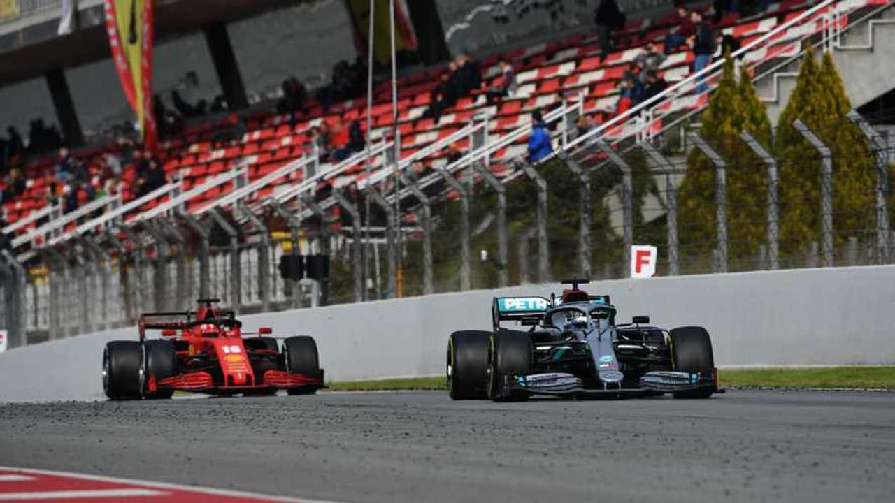 Valtteri Bottas, Mercedes F1 W11 EQ Performance, leads Charles Leclerc, Ferrari SF1000