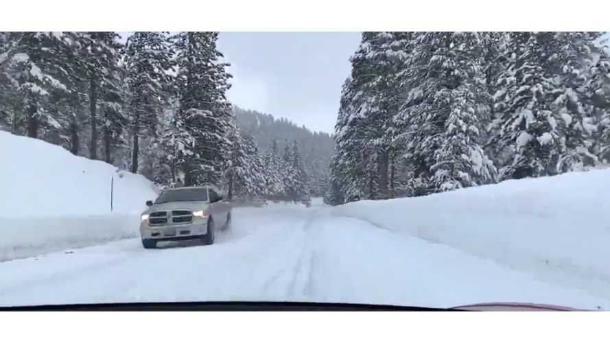 Watch Tesla Model 3 Effortlessly Take On Snowy Tahoe Road: Video