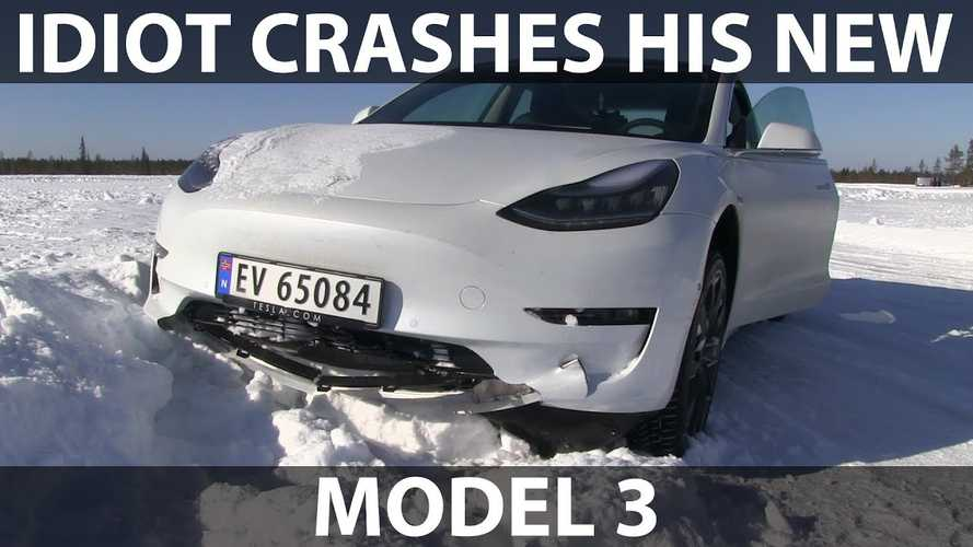 Watch This Brand New Tesla Model 3 Get Smashed Up: Video