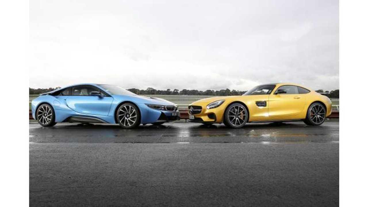 BMW i8 Versus Mercedes-Benz AMG GT (source: Drive)