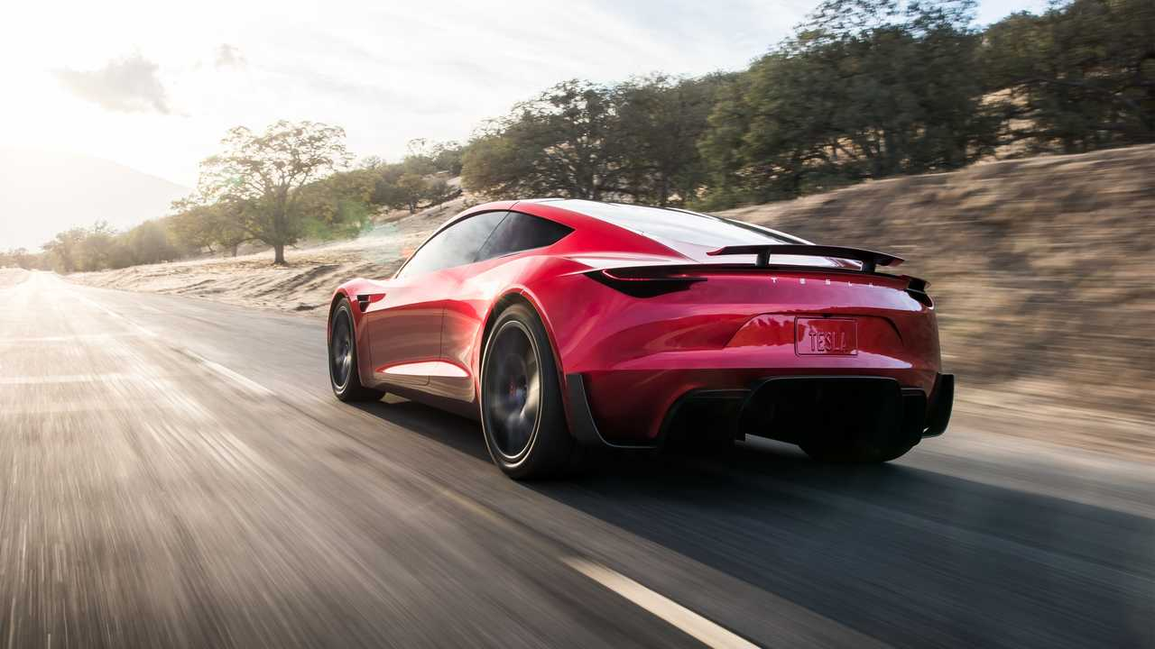 Employee Launches New Tesla Roadster On Test Track - Video