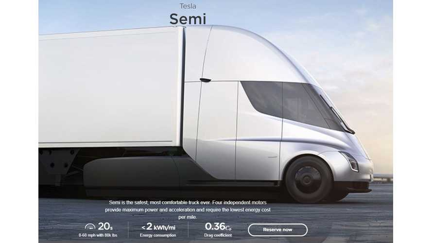 Tesla Opens Up Semi Reservations To All
