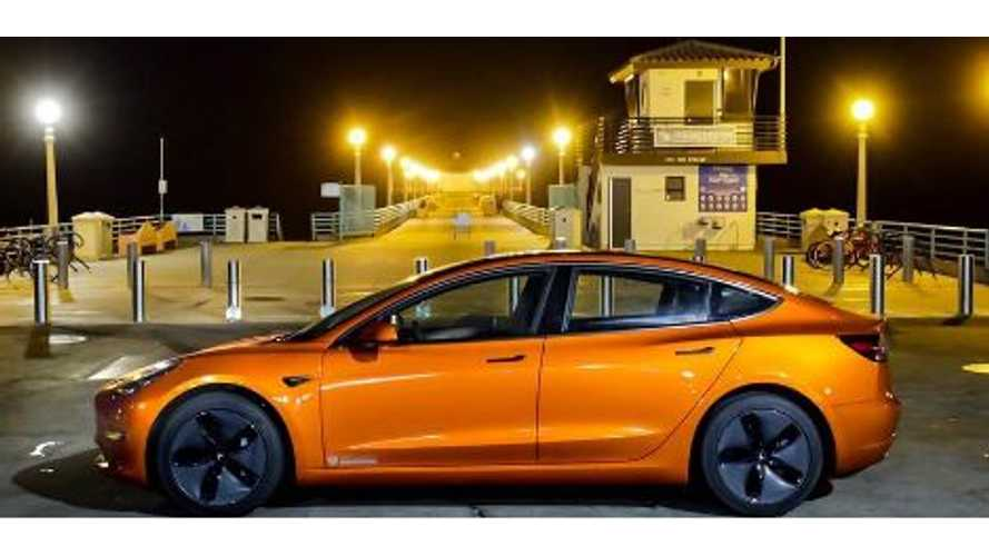 Orange Tesla Model 3 Spotted
