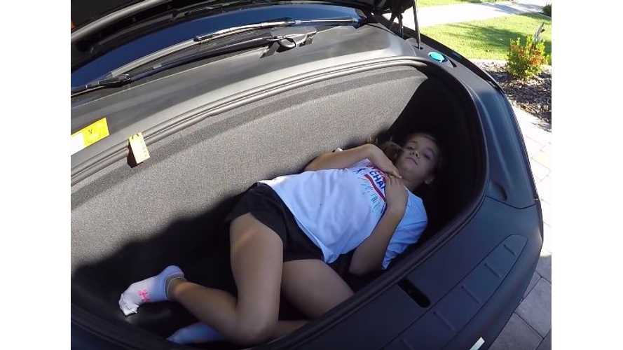 Fitting A Child In The Tesla Model X Trunk & Frunk - Video