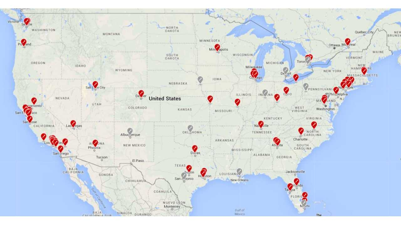 Map Of Tesla Service Centers In U.S.