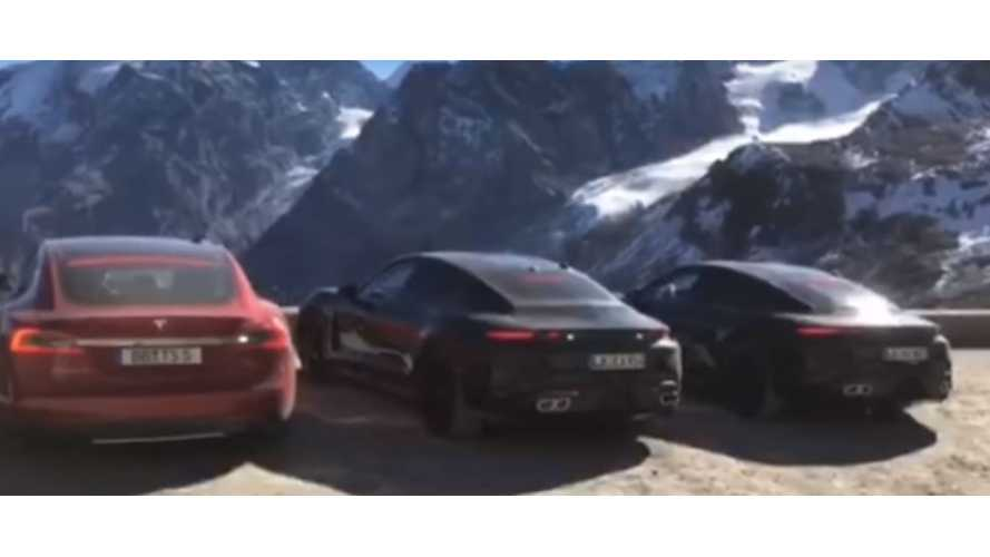 Porsche Taycan Testing Against Tesla Model S P85D On Stelvio Pass