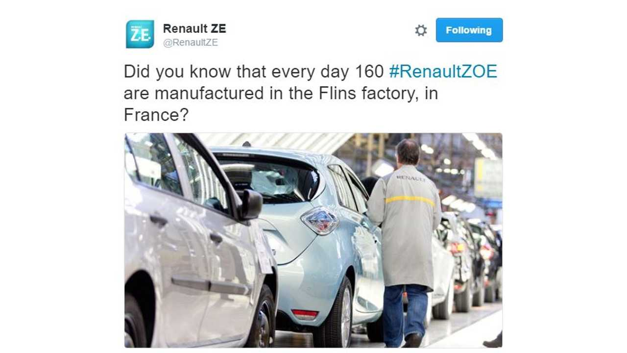 Renault Says ZOE Production Is At 160 Units Per Day