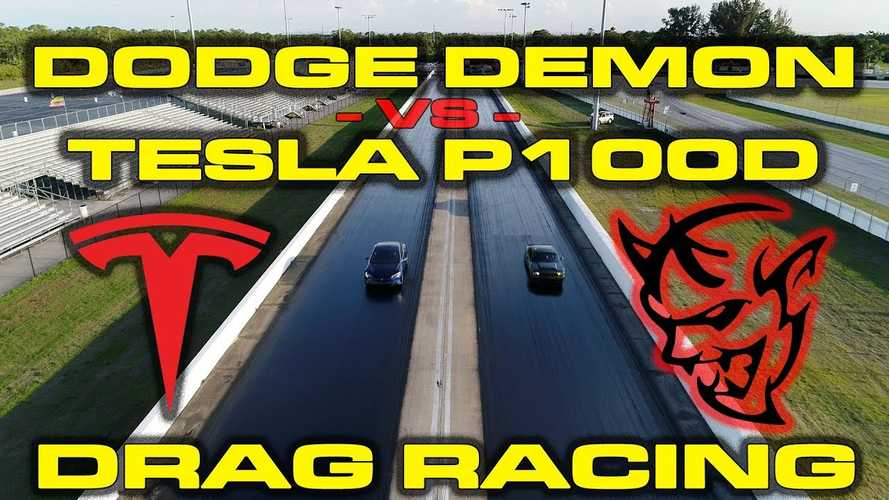 Tesla Model S P100D Versus Roaring Dodge Demon