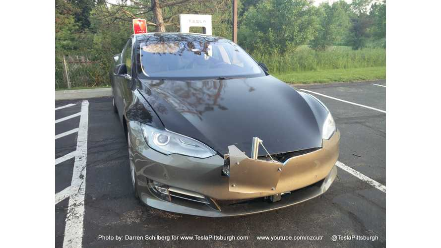 Tesla Model S Test Mule Spotted With Autopilot 2.0?