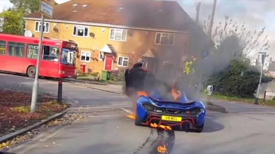 McLaren P1 alev aldı
