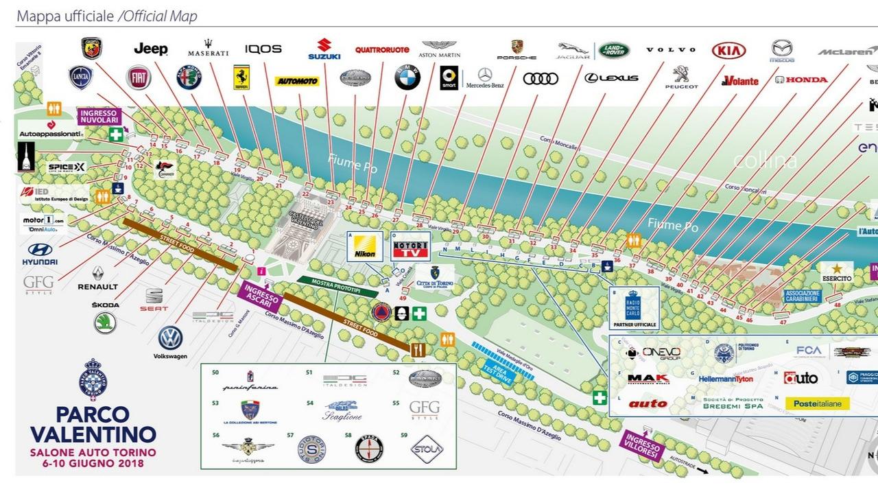 Parco Valentino 2018, la mappa