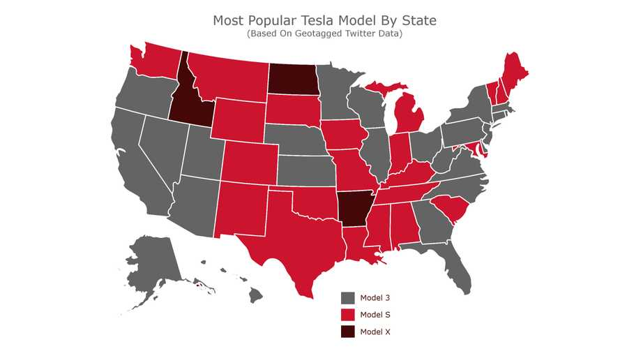Twitter Map Shows Most Popular Tesla Model (3, S, X) In Your State