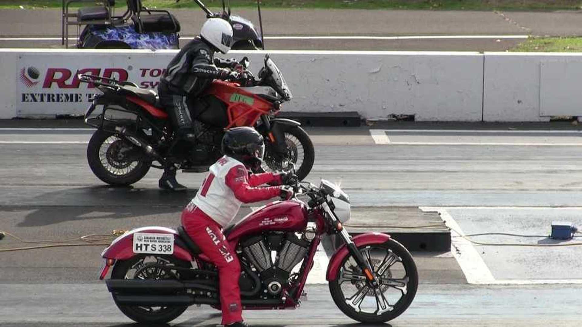 KTM 1190s Vs Harleys Drag Racing