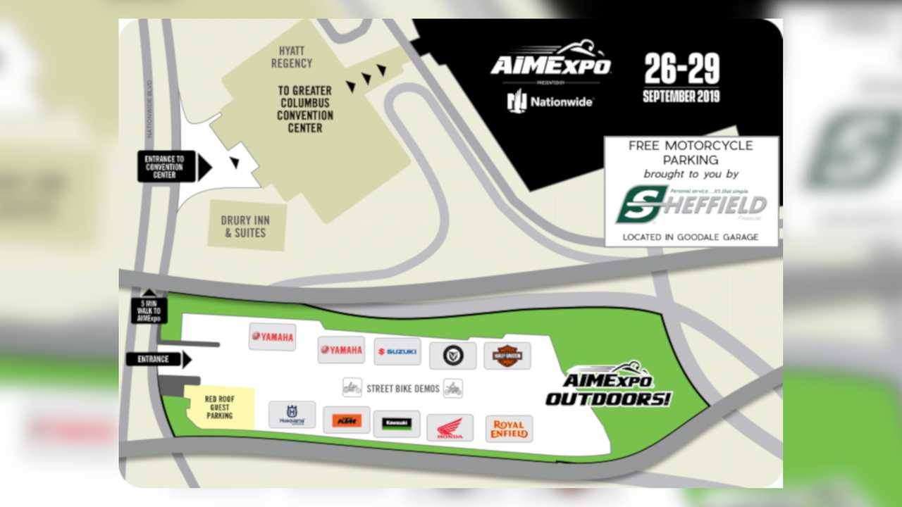 2019 AIM Expo Outdoors Demo Rides Map