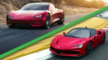 hybride vs electrique la ferrari sf90 stradale face tesla roadster