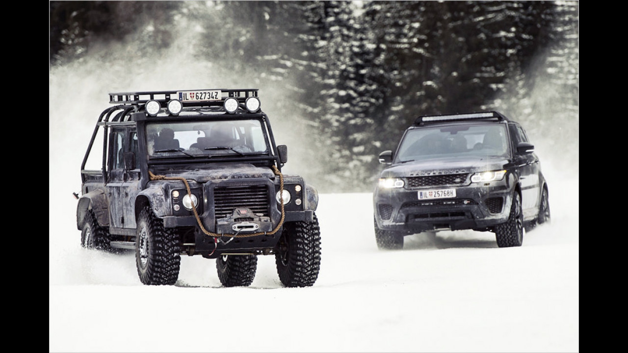 Land Rover Defender und Range Rover Sport SVR
