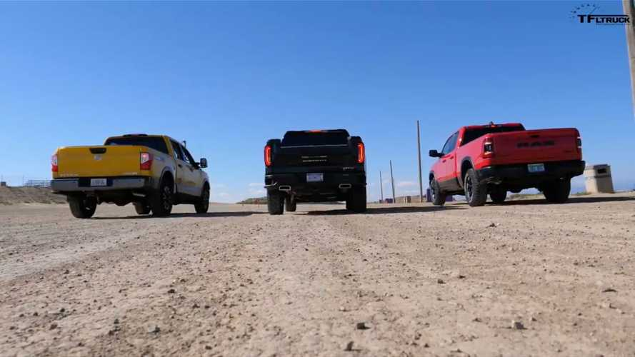 World's Slowest Drag Race: GMC Sierra vs Nissan Titan vs Ram Rebel