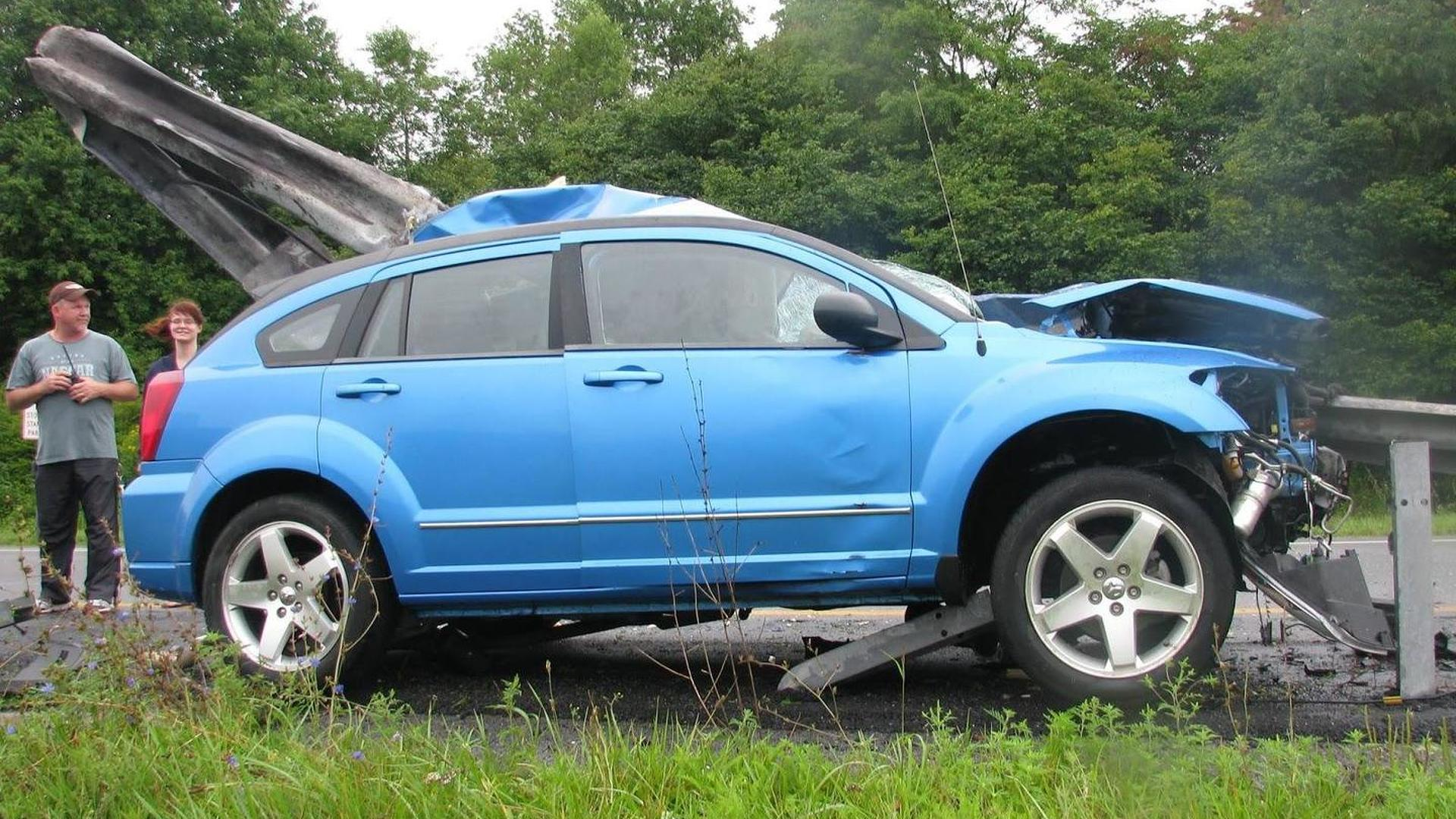 Dodge Caliber impaled in horrifying accident but driver survives