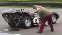 Lister-Jaguar Knobbly crashed at Goodwood