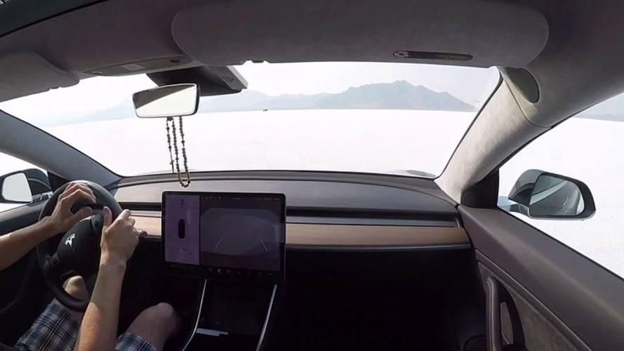 Watch Tesla Model 3 Top Out On Salt Flats
