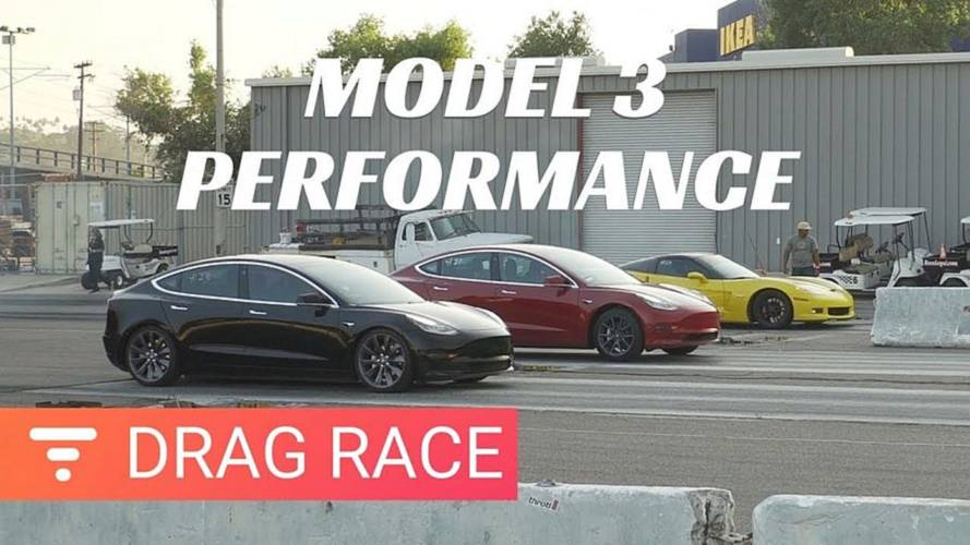 Watch Tesla Model 3 Performance Drag Race Vs. Long Range 3