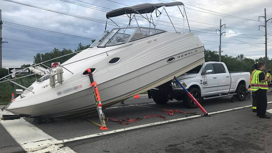 Boat Smashes Into Truck That Was Towing It