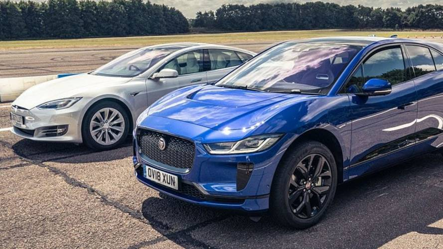 Watch Tesla Model S 75D Race Jaguar I-Pace
