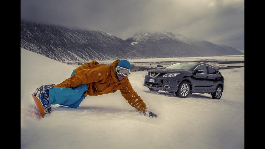 Nissan Qashqai, la prova sulla pista… da sci [VIDEO]