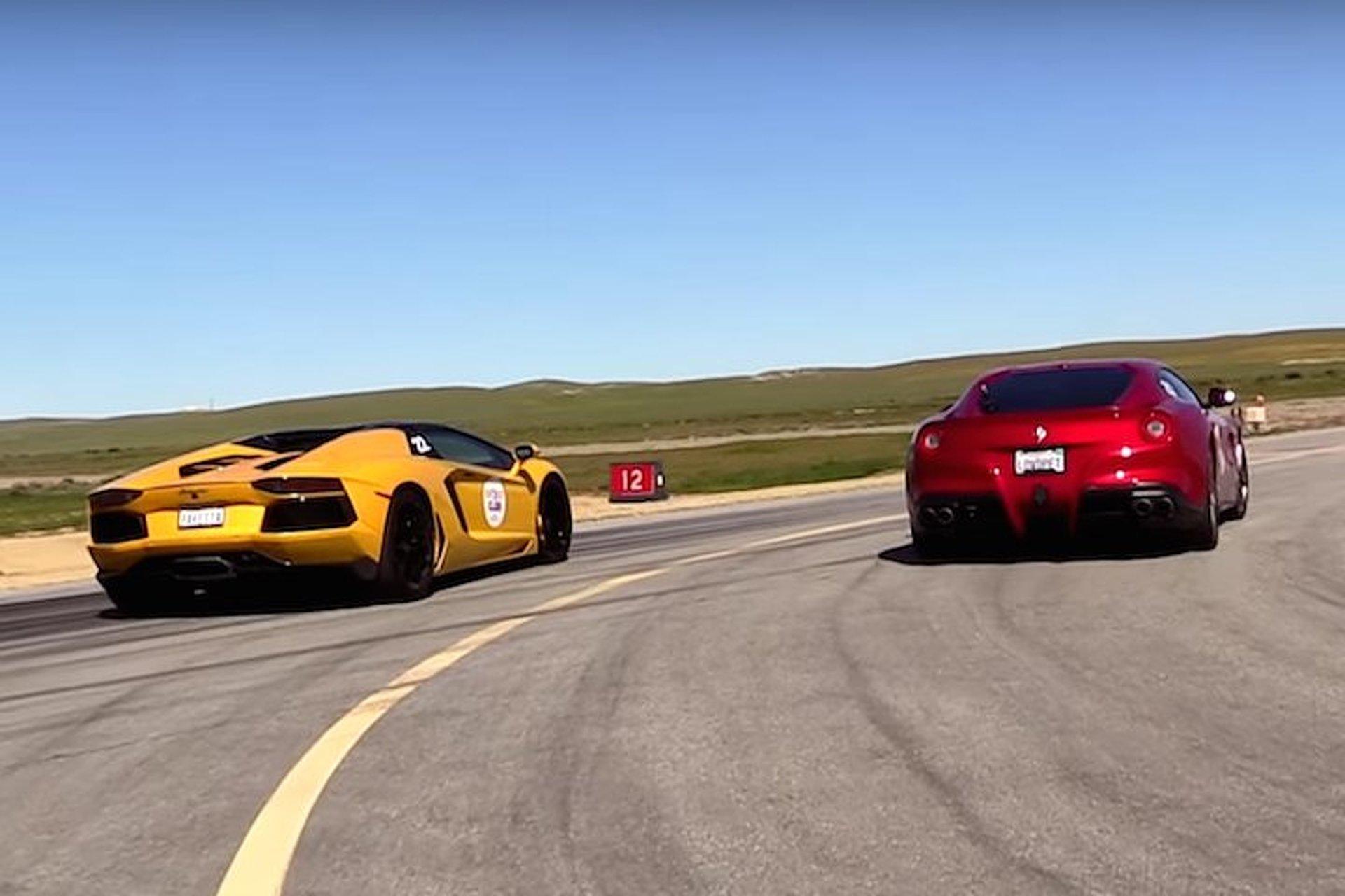 Watch A Ferrari F12 And Lamborghini Aventador Roadster Hit The Drag