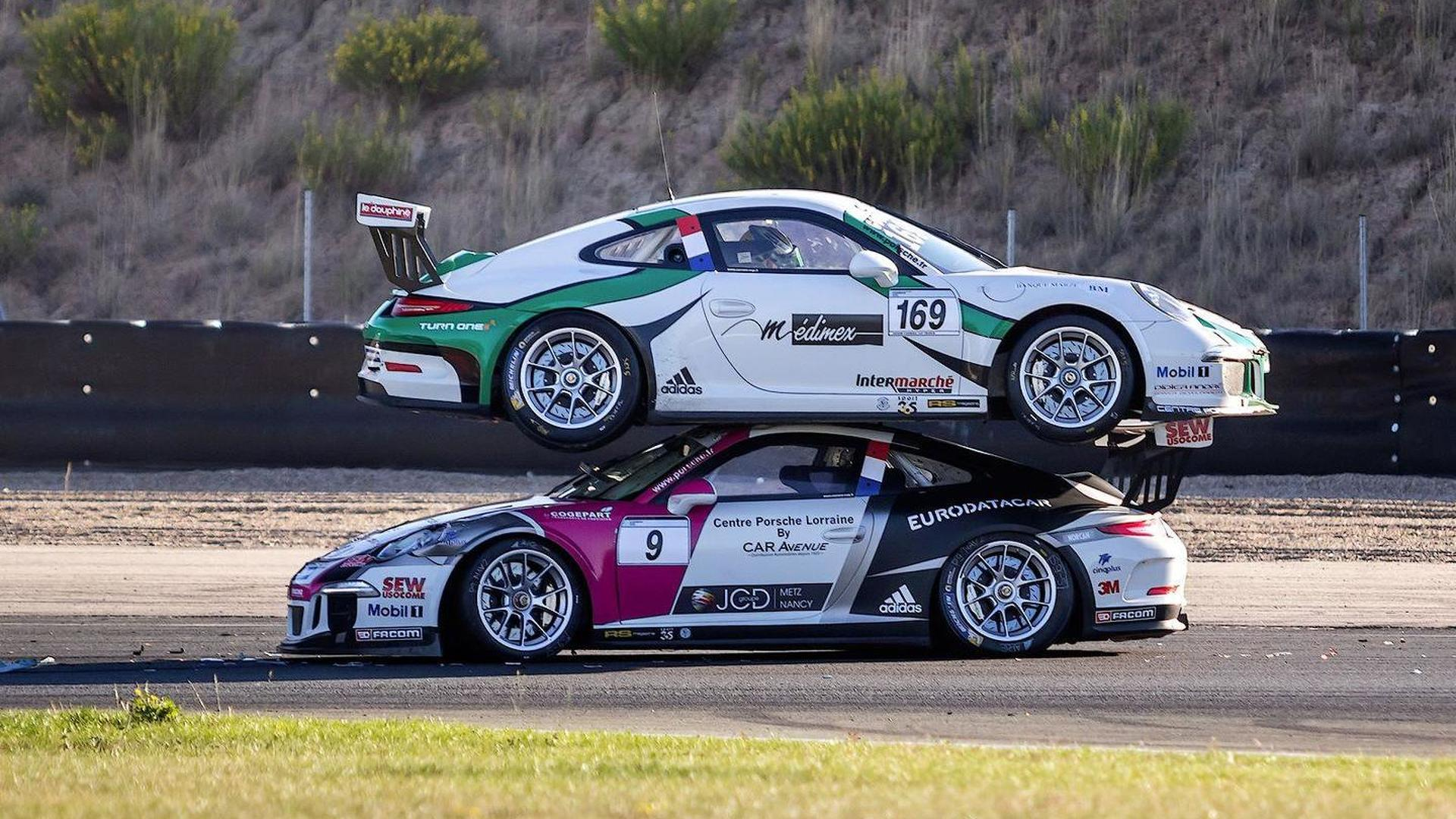 Porsche 911 Gt3 Racecar Ends On Top Of Another 911 Gt3 At Carrera