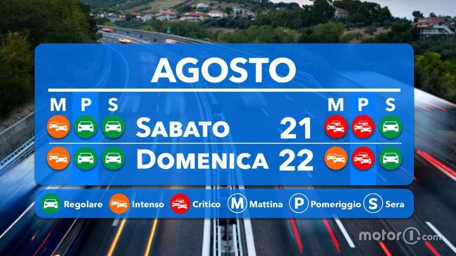 Le previsioni del traffico per il weekend 21 e 22 agosto