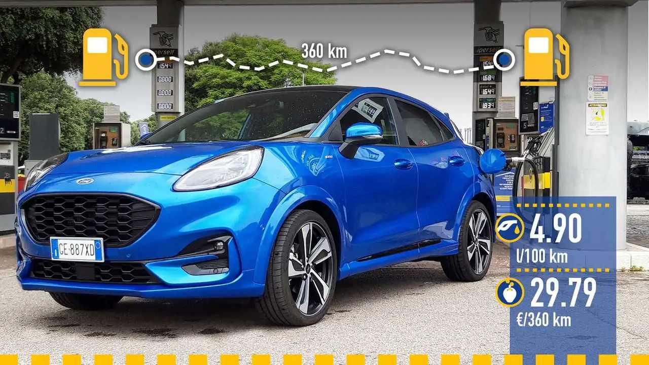 Ford Puma mild hybrid automatica, la prova consumi