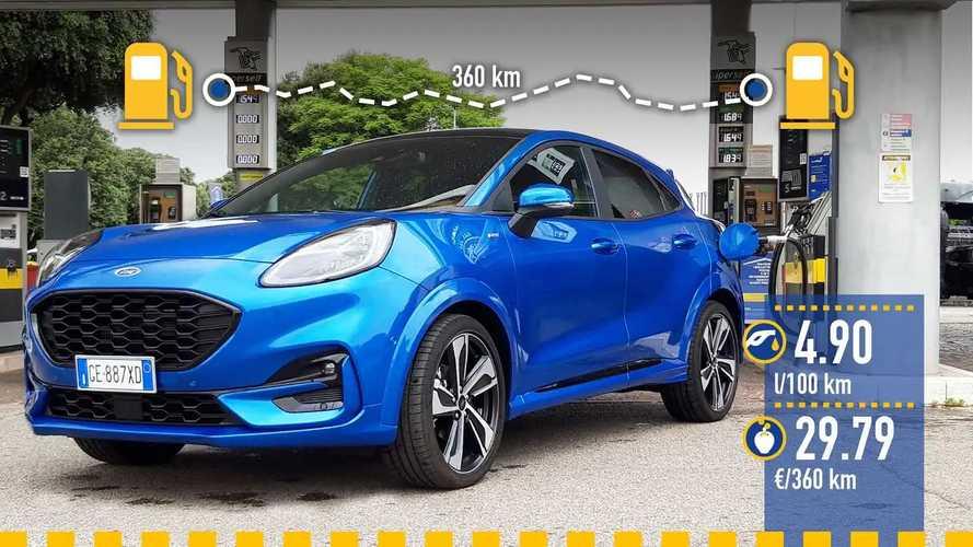Ford Puma mild hybrid automatica, la prova dei consumi reali