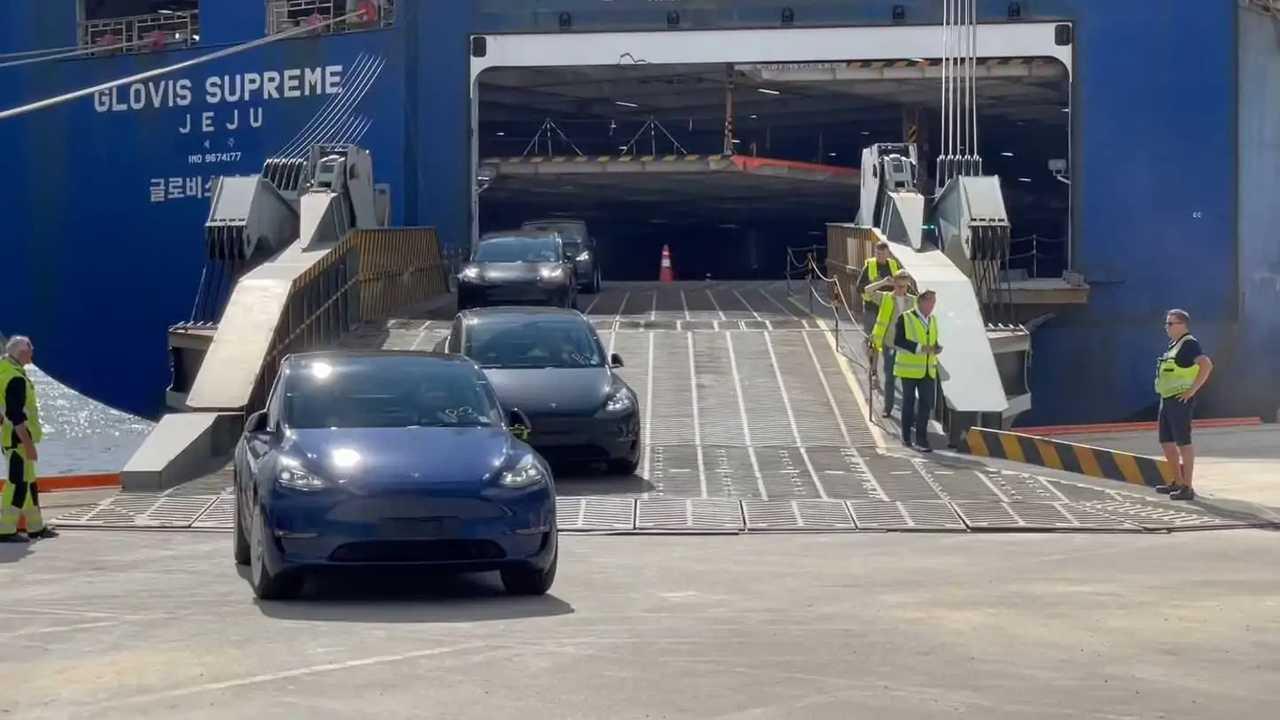 Tesla Model Y ankommer Norge (source: Norsk elbilforening)