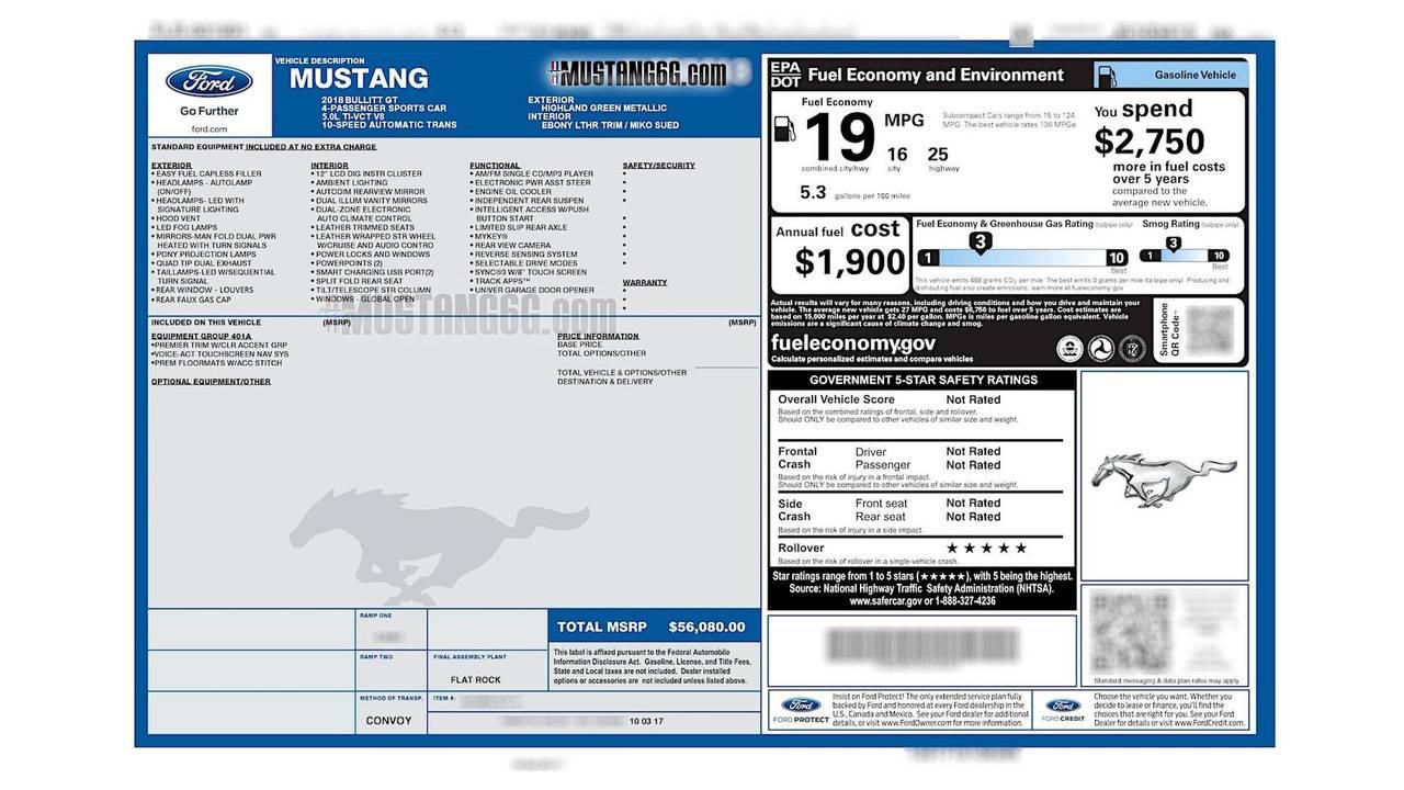 2018 Ford Mustang Bullitt window sticker