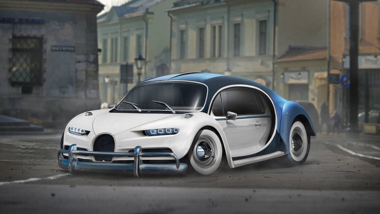 Bugatti Chiron and VW Beetle mashup