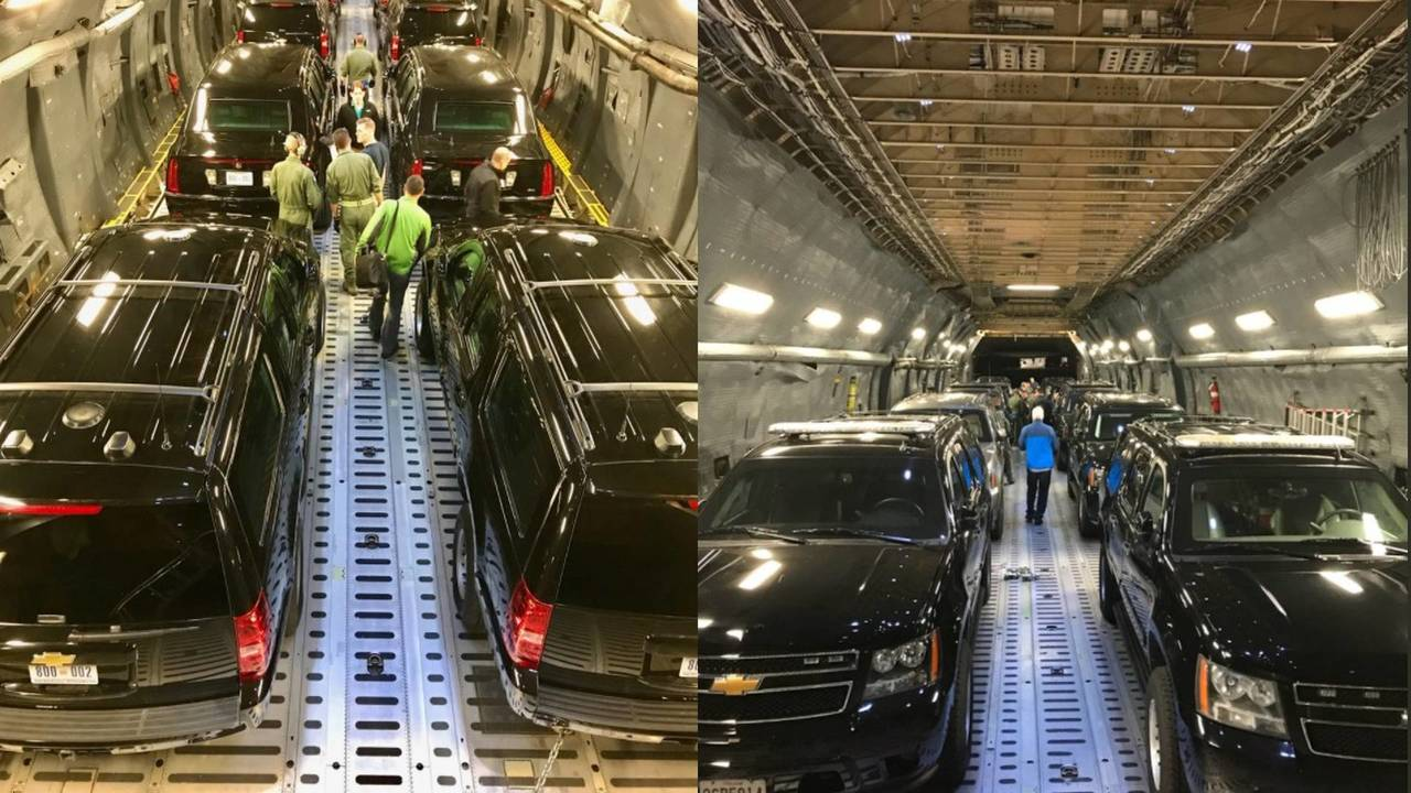 U.S. President Donald Trump limousine being transported