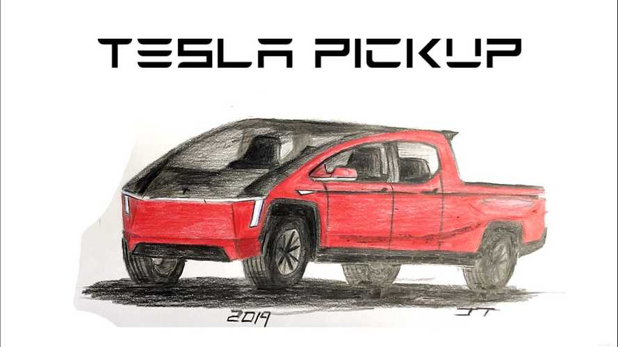 Tesla Pickup Truck Drawn To Life Right Before Your Eyes