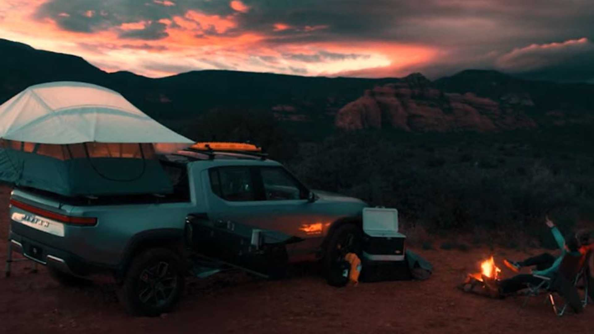 Rivian R1T Electric Truck: Camping Out And Cooking In The Wild