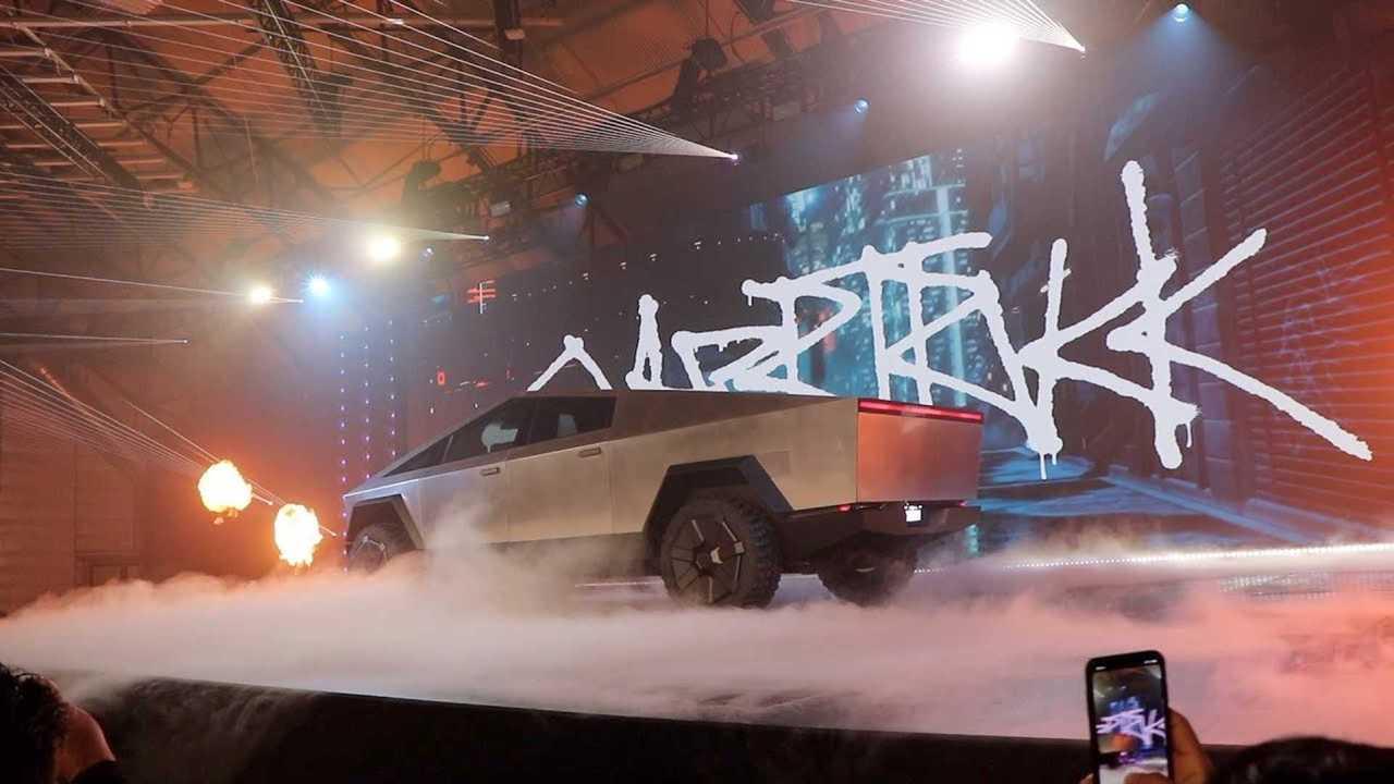tesla cybertruck on stage