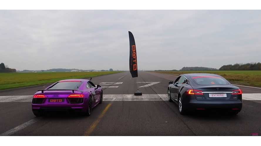 Tesla Model S P100D Versus Audi R8 V10 - Race Video