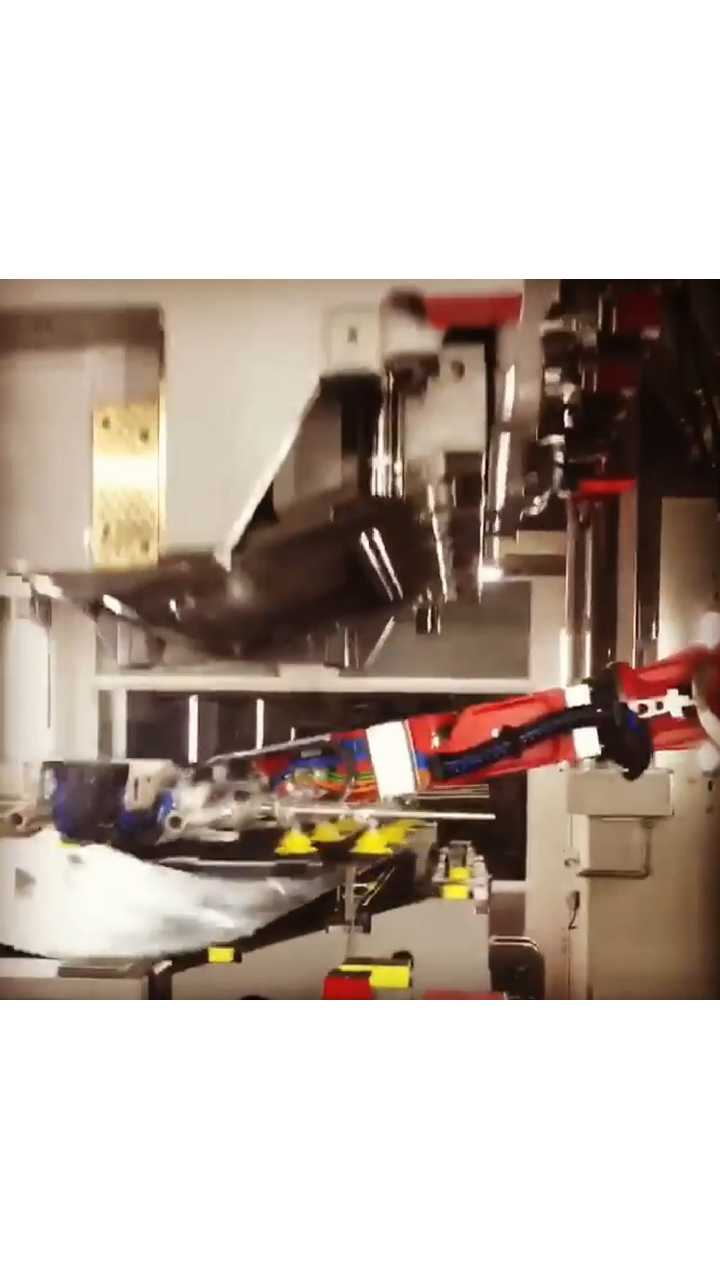 to show Model 3 body panels being stamped in real time
