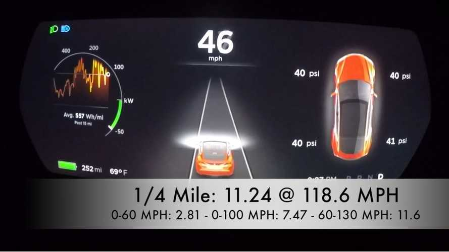 DragTimes Tests Tesla Model S P90D Ludicrous 60 To 130 MPH - Video