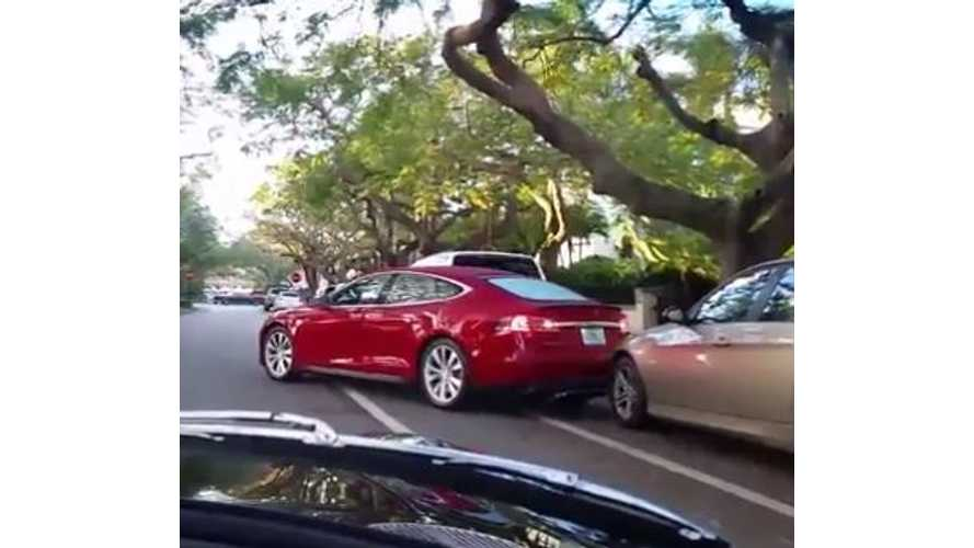 Tesla Model S Backs Into Parked BMW - Video