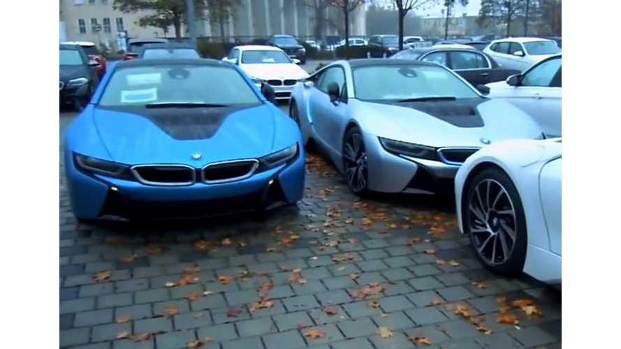 5 BMW i8s In One Parking Lot - Video