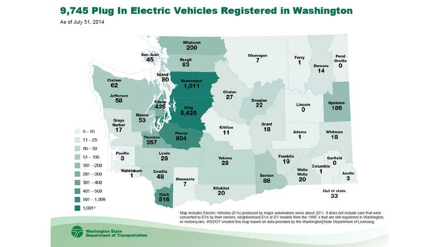 Washington State: Closes In On 10,000 EVs On The Road - Full Map