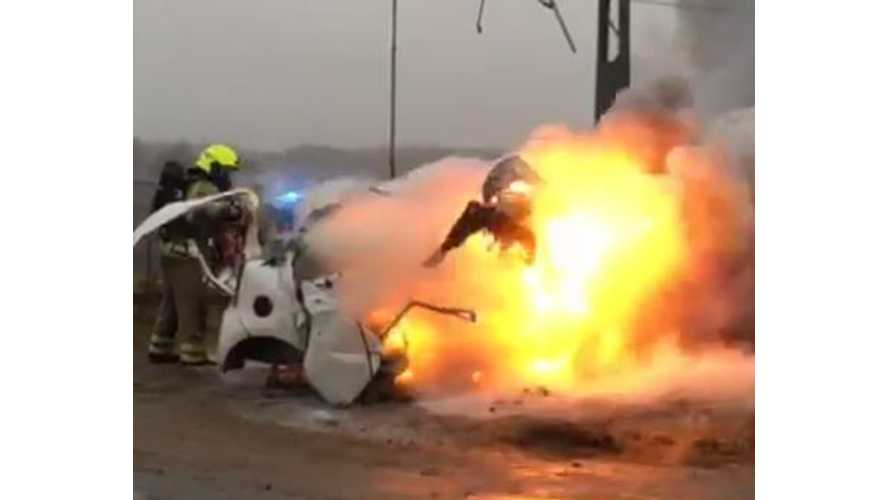 Train Collides With Volkswagen e-Up!, Explosion & Fire Follows (w/video)