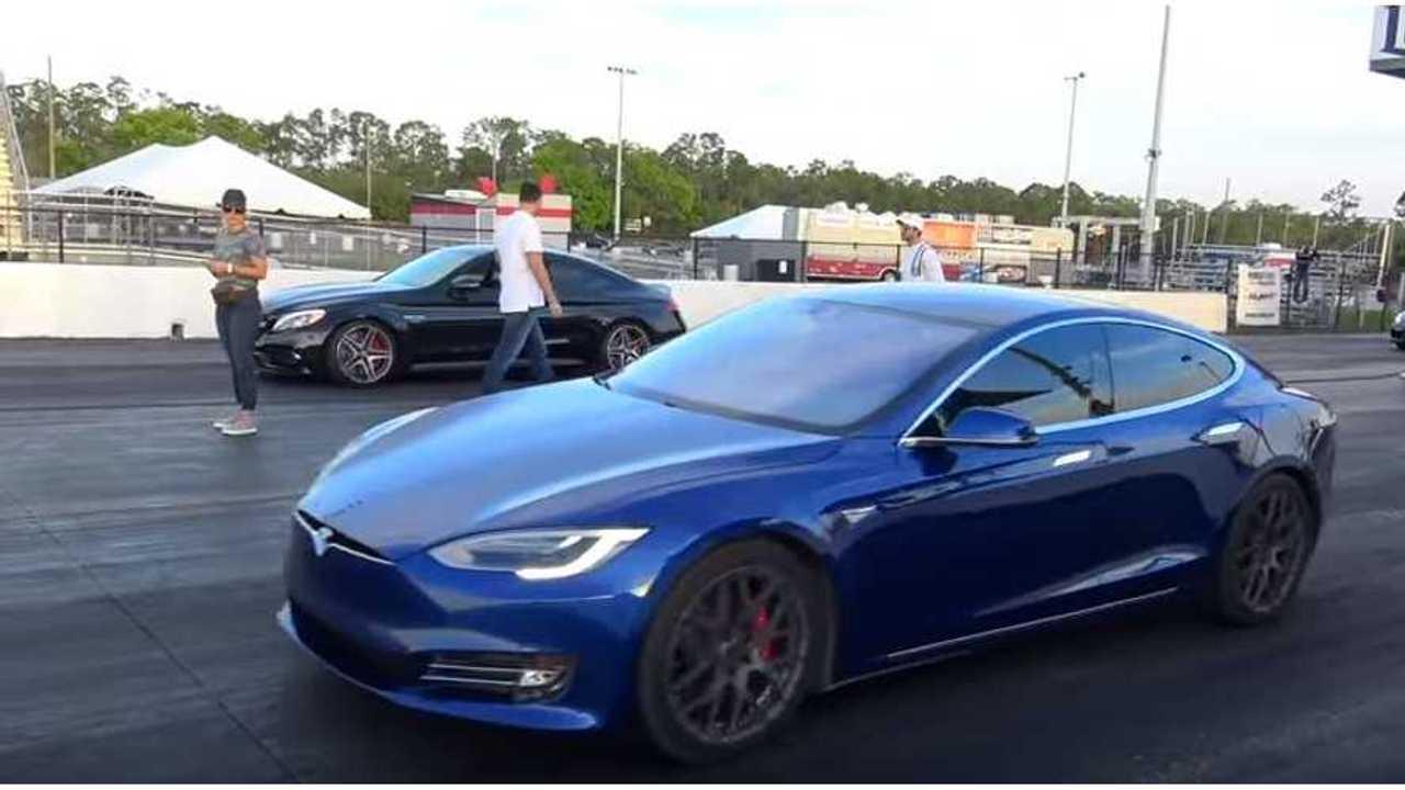 Watch Tesla Model S P100D Race Mercedes C63S AMG