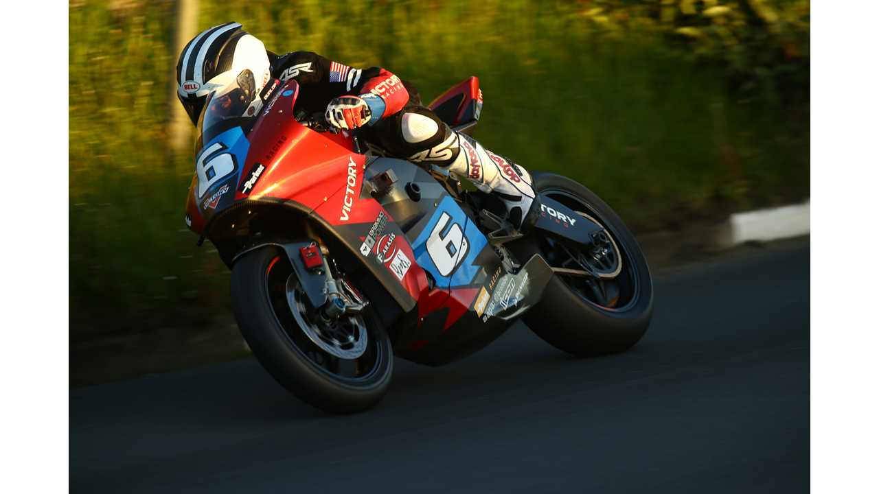 Carving the turns at the IOM TT Zero